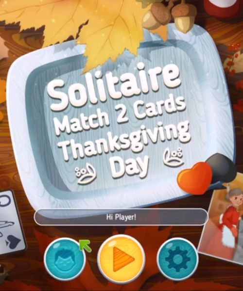 Solitaire Match 2. Cards Thanksgiving Day